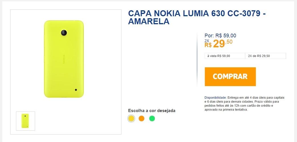 Lumia 630 tampa traseira