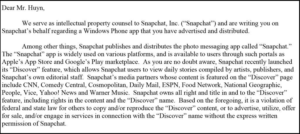 Carta do Snapchat para o Rudy Huyn
