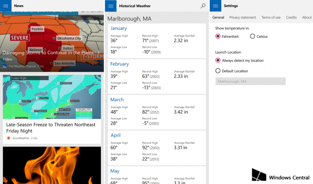 MSN-Weather Windows 10