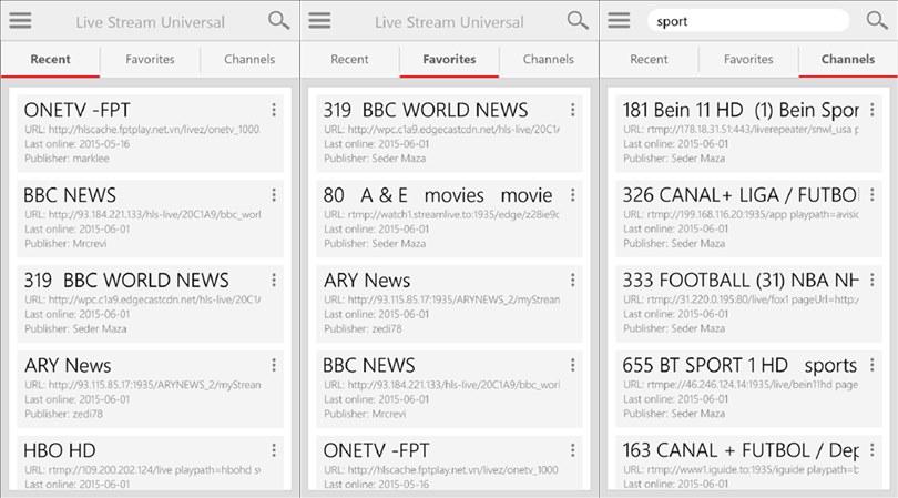 Live Stream Universal capturas