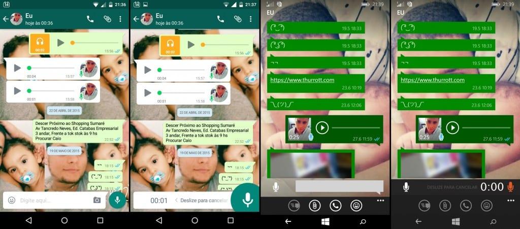 Conversa Whatsapp Windows Phone x Android