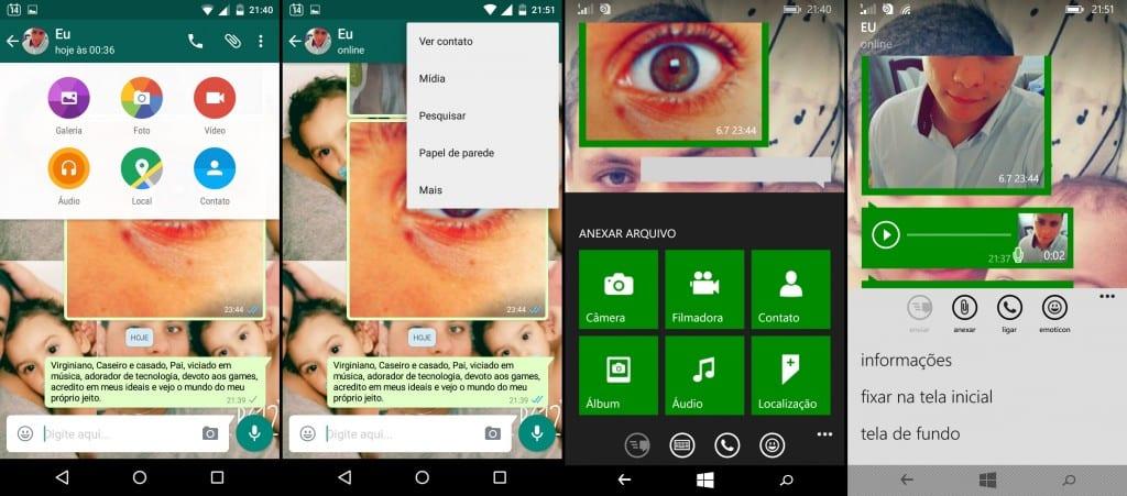 Apesar de localizadas em lugares diferentes, todas as opções da tela de conversas estão disponíveis para as duas plataformas.