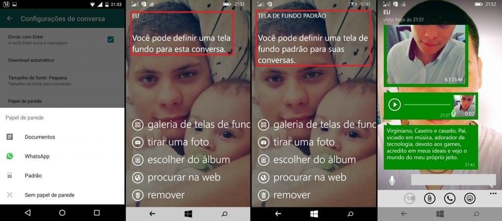 trocar papel de Parede Whatsapp Windows Phone x Android