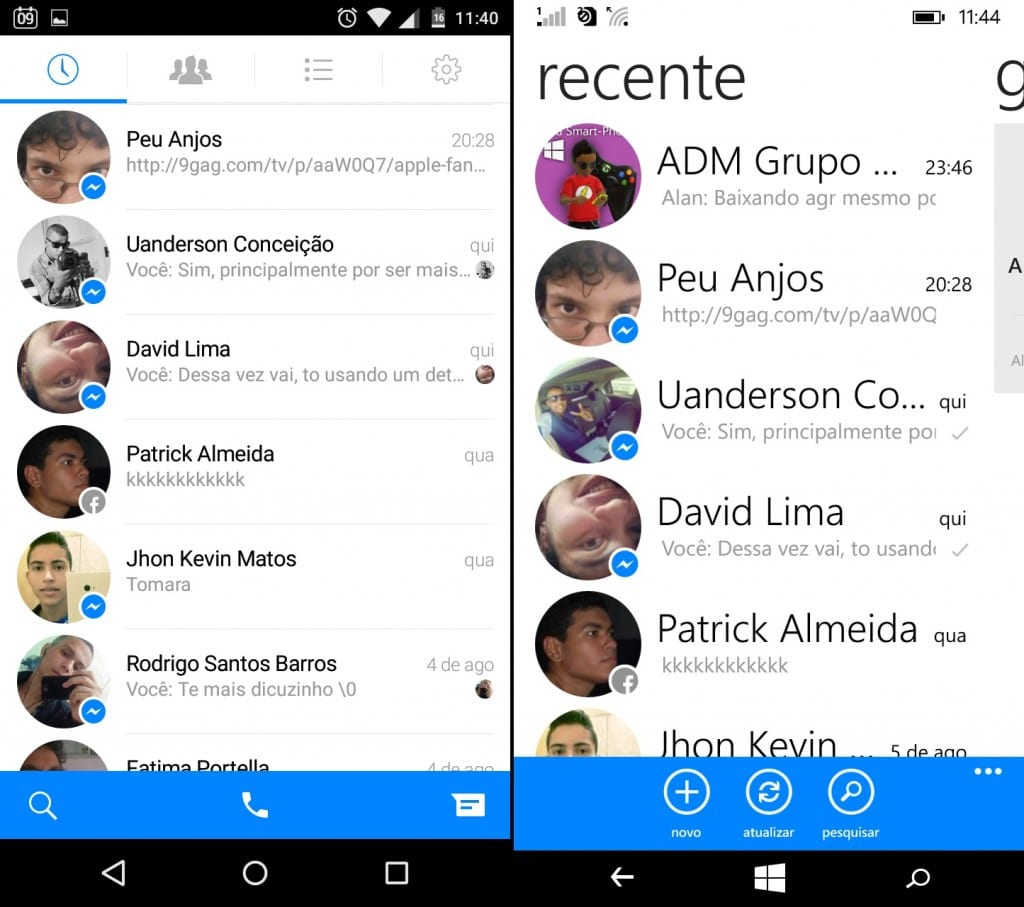 Comparativo de apps 5 facebook messenger