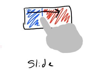 Slide: Um efeito de deslizar, como uma pilha de cartas, por exemplo.