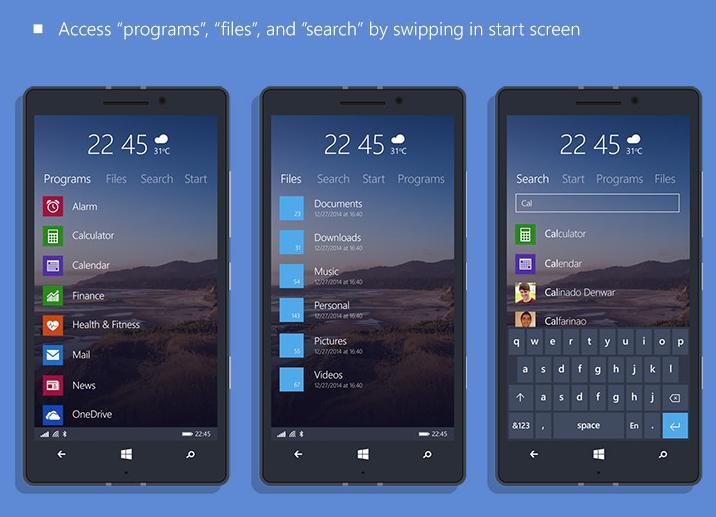 New-Start-Screen Windows 10 Mobile