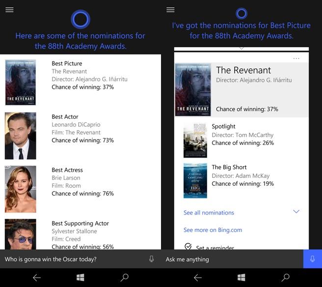 Cortana Oscar