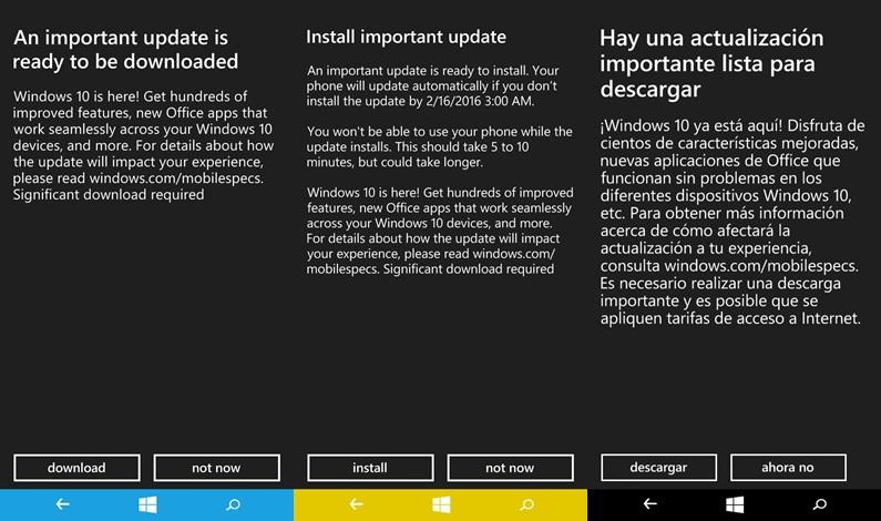 Lumia 535 W10 Update
