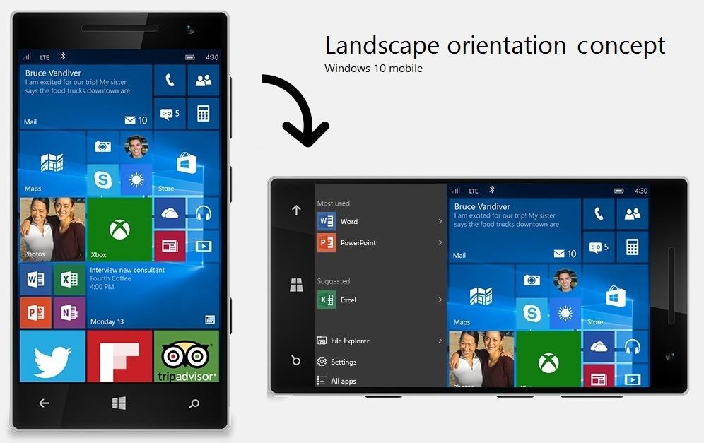 Windows 10 mobile Horizontal