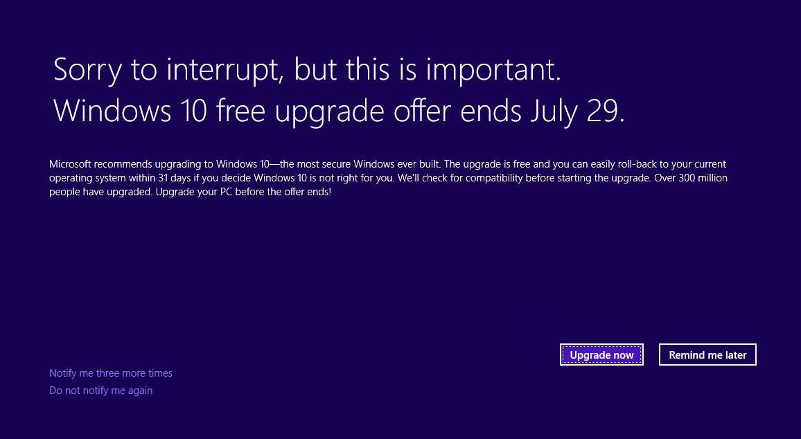 Windows 10 Aviso