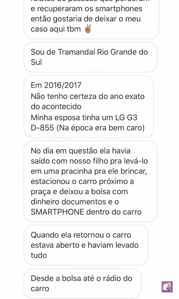 Relato do LG G3 roubado